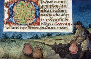 Abbildung: Vergrabung eines Münzschatzes. Boethius-Handschrift, 1476, London, British Library