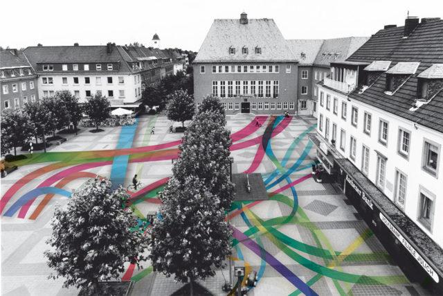 """Jülichs Marktplatz nach dem Wiederaufbau   Foto: Foto: Förderverein """"Festung Zitadelle Jülich e.V."""""""