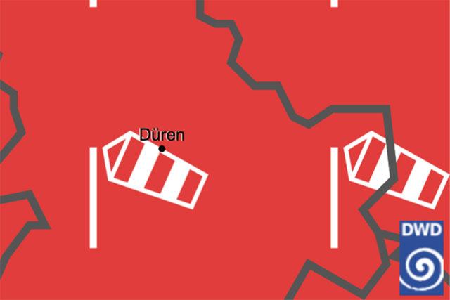 Alles im roten Bereich im Kreis Düren laut Deutschem Wetteramt. Screenshot: hzg