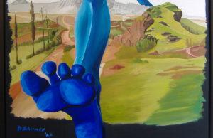 Abbildung S.9: J. W. Schirmer, Der blaue Wanderer, 2007, Öl auf Leinwand 120 x 80 cm (Museum Zitadelle Jülich)