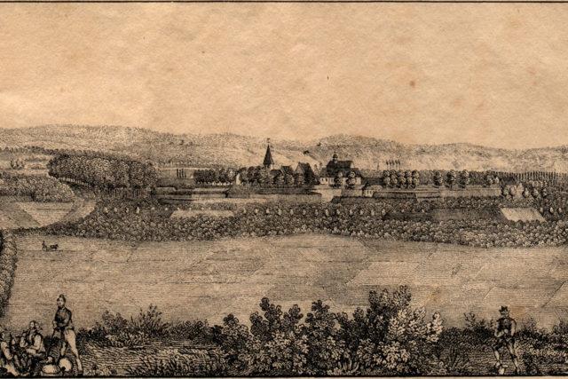 Abbildung: Ansicht der Stadt Jülich aus dem Büchlein von Carl Brockmüller von 1839 (Original und Foto: Museum Zitadelle Jülich)