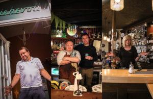 Ben Lövenich vom Liebevoll, Ross und Paddy Lynch vom Irish Pub und Trude Eggen vom Café Fleur in Jülich
